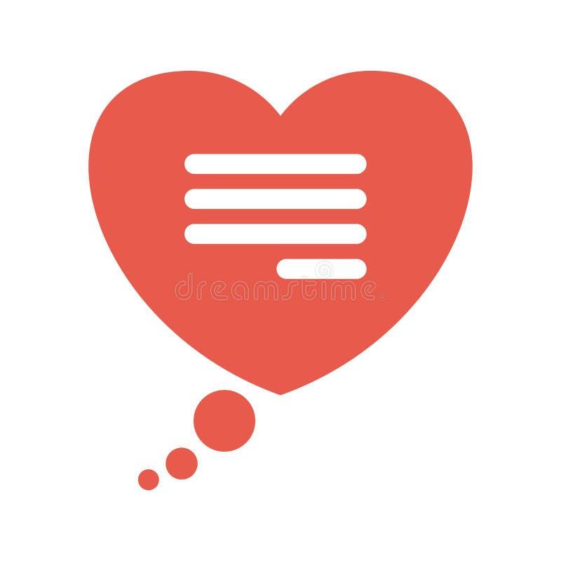 Fumetto piano di vettore sotto forma di un cuore illustrazione di stock