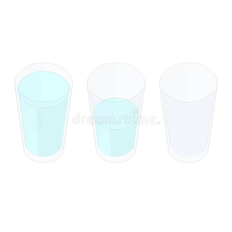 fumetto pieno a metà o vuoto a metà del bicchiere d'acqua immagine stock libera da diritti