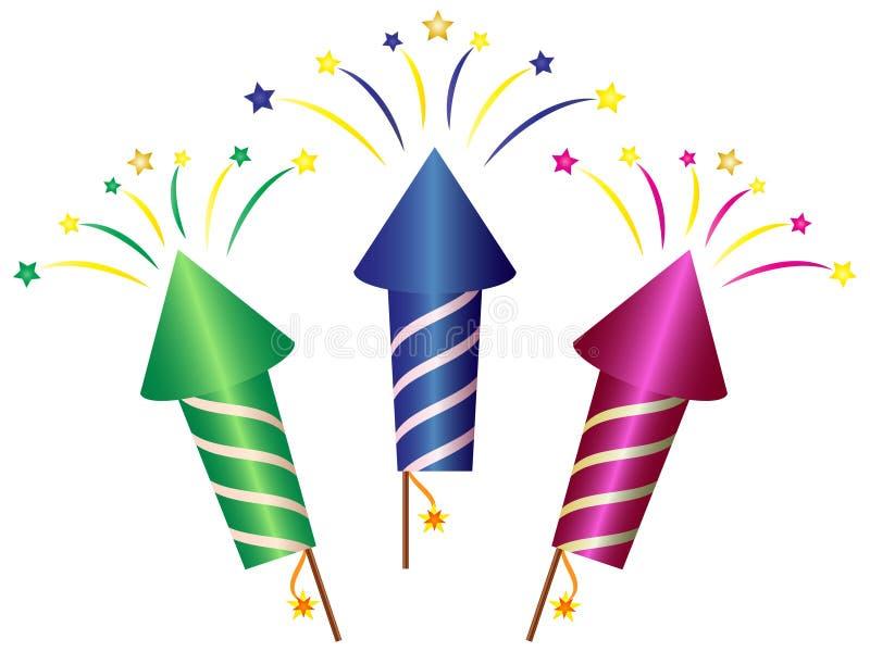 Fumetto Rocket Fireworks Clipart royalty illustrazione gratis