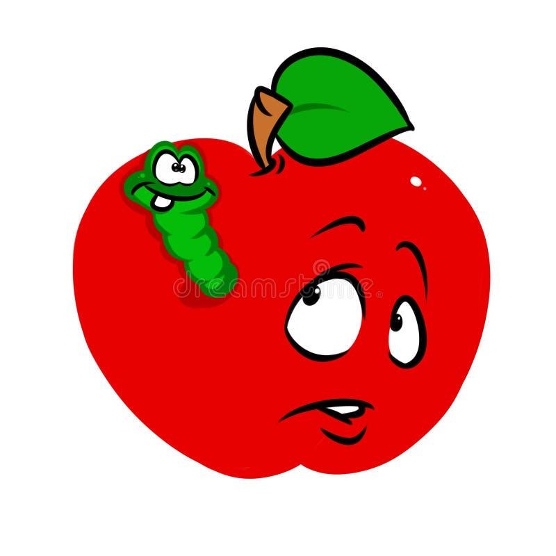 Fumetto rosso del carattere della frutta del verme della mela illustrazione di stock