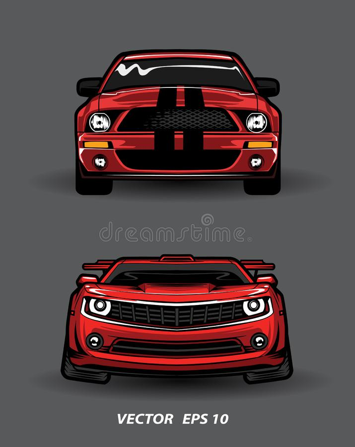 Fumetto rosso dell'automobile di vista frontale su fondo grigio illustrazione vettoriale