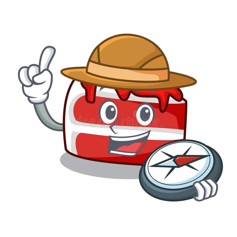 Fumetto rosso della mascotte del velluto dell'esploratore royalty illustrazione gratis