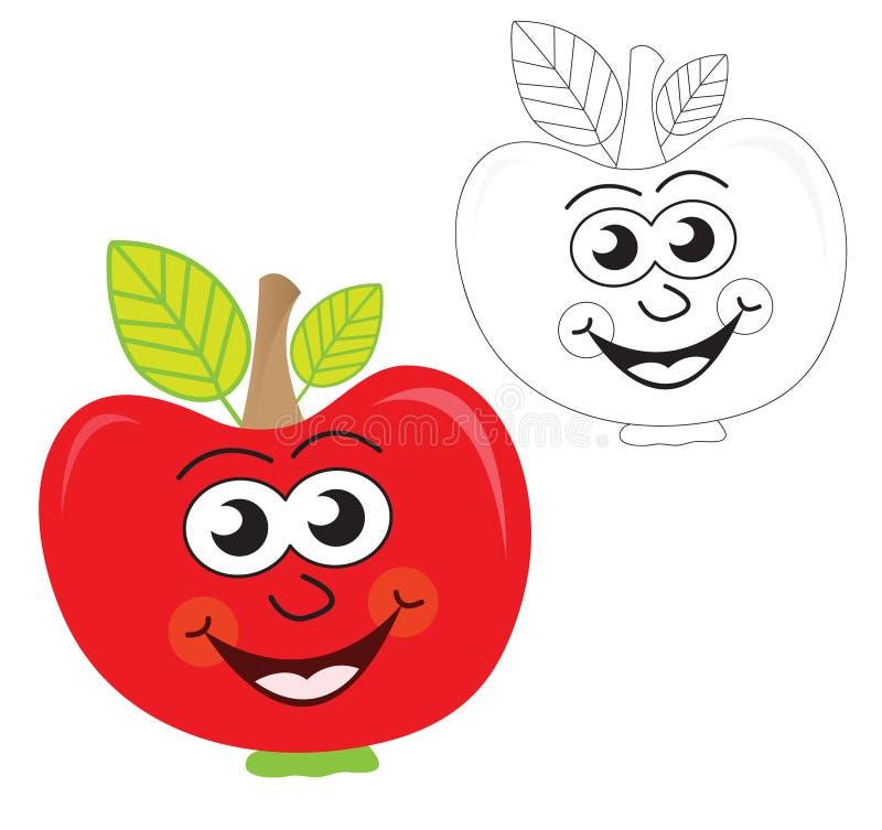 Fumetto rosso della mela illustrazione di stock