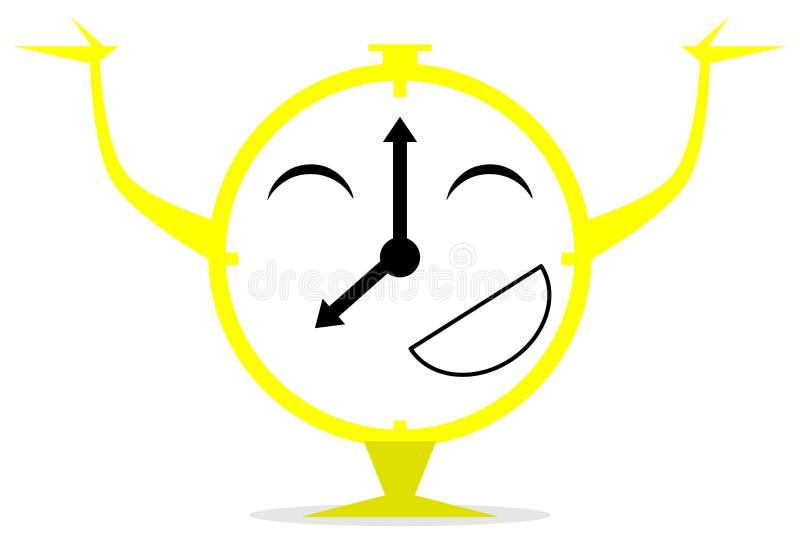 Fumetto rosso felice dell'orologio isolato royalty illustrazione gratis