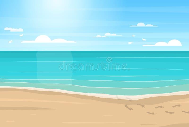 Fumetto Sandy Beach, mare e cielo blu Vettore illustrazione vettoriale