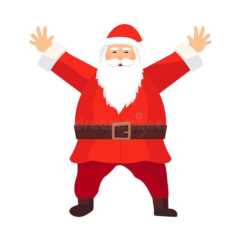 Fumetto Santa Claus di vettore con una barba bianca che dà il benvenuto con ciao Simbolo di Natale in abbigliamento rosso, stival illustrazione di stock