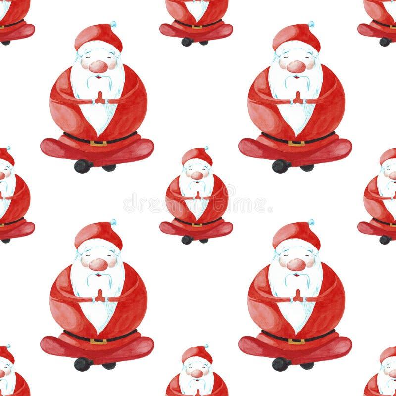 Fumetto Santa Claus in una delle pose di yoga Acquerello dipinto isolato su fondo bianco Reticolo senza giunte illustrazione vettoriale