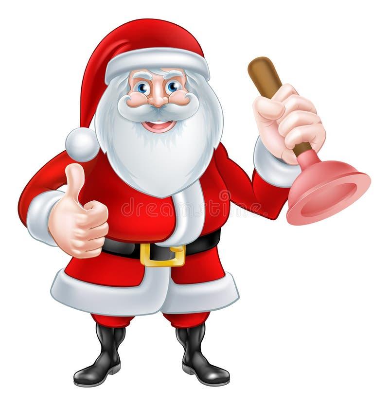 Fumetto Santa Holding un tuffatore illustrazione vettoriale