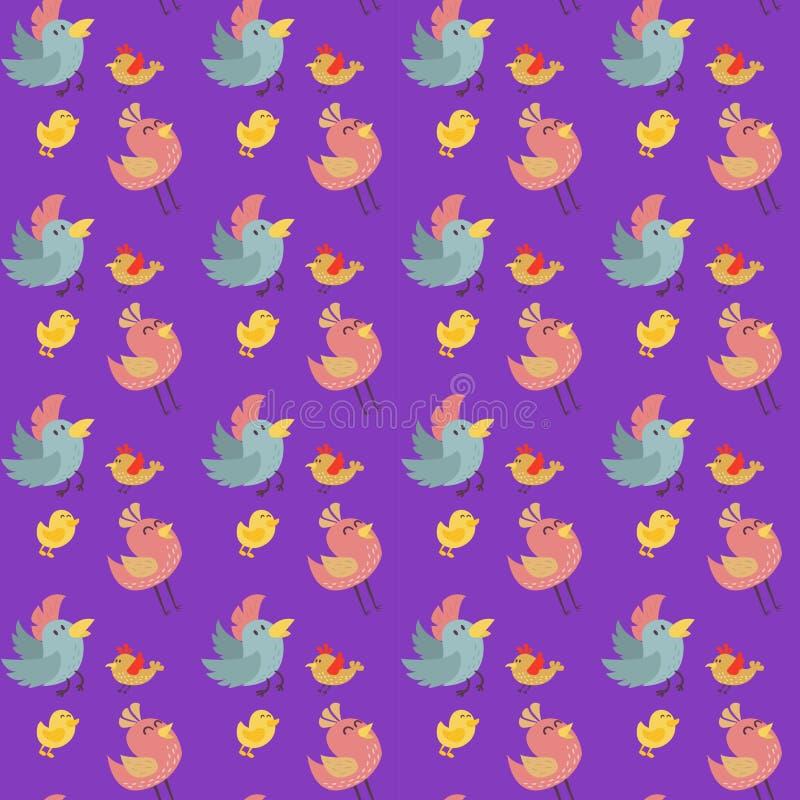 Fumetto senza cuciture dell'illustrazione di vettore del modello degli uccelli svegli variopinto royalty illustrazione gratis