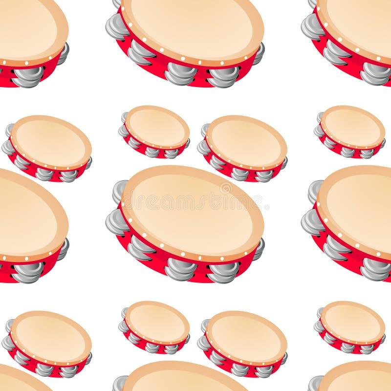 Fumetto senza cuciture delle mattonelle del modello con il tamburo del giocattolo illustrazione vettoriale