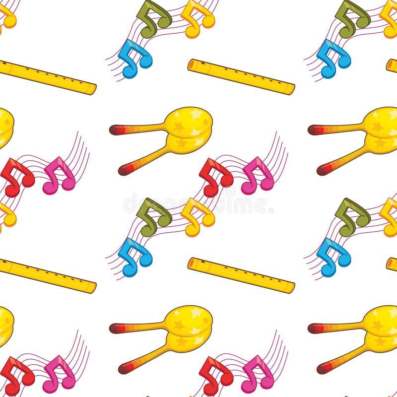 Fumetto senza cuciture delle mattonelle del modello con il tema di musica illustrazione di stock