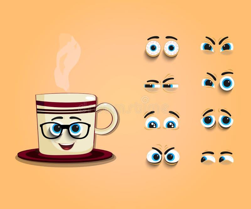 Fumetto sveglio che cuoce a vapore tazza con l'insieme degli occhi illustrazione vettoriale
