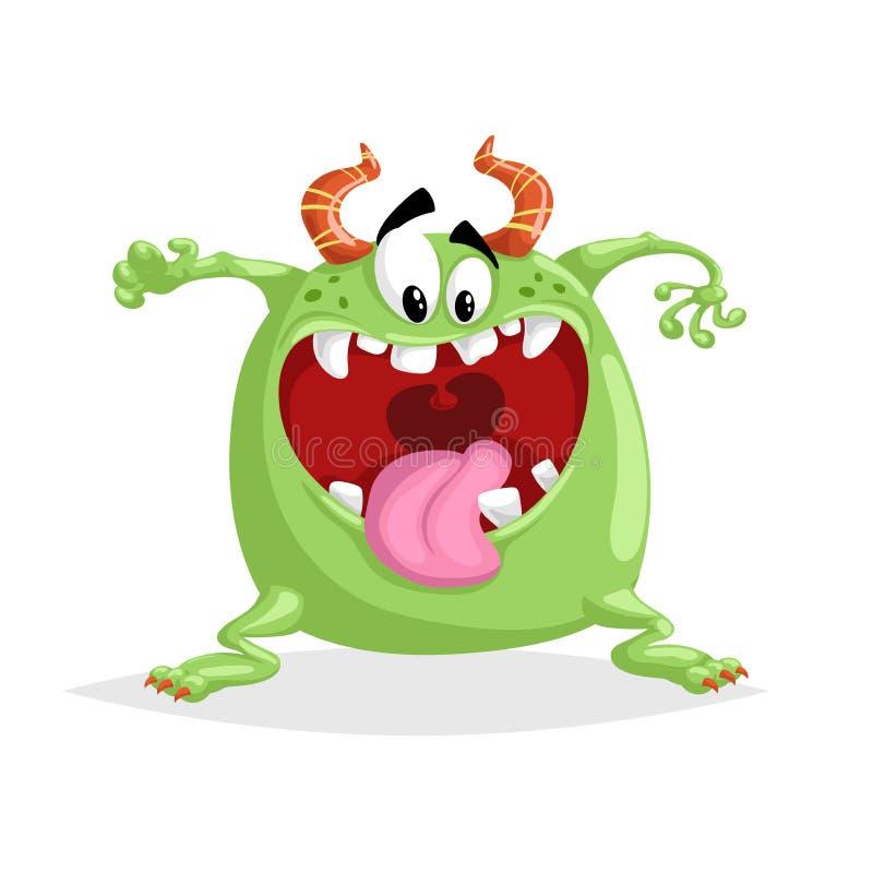 Fumetto sveglio che grida mostro verde pazzo Minacci il carattere cornuto di panico Simbolo del partito di Halloween illustrazione di stock