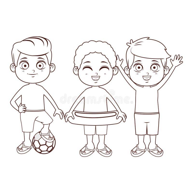 Fumetto sveglio dei ragazzi illustrazione di stock