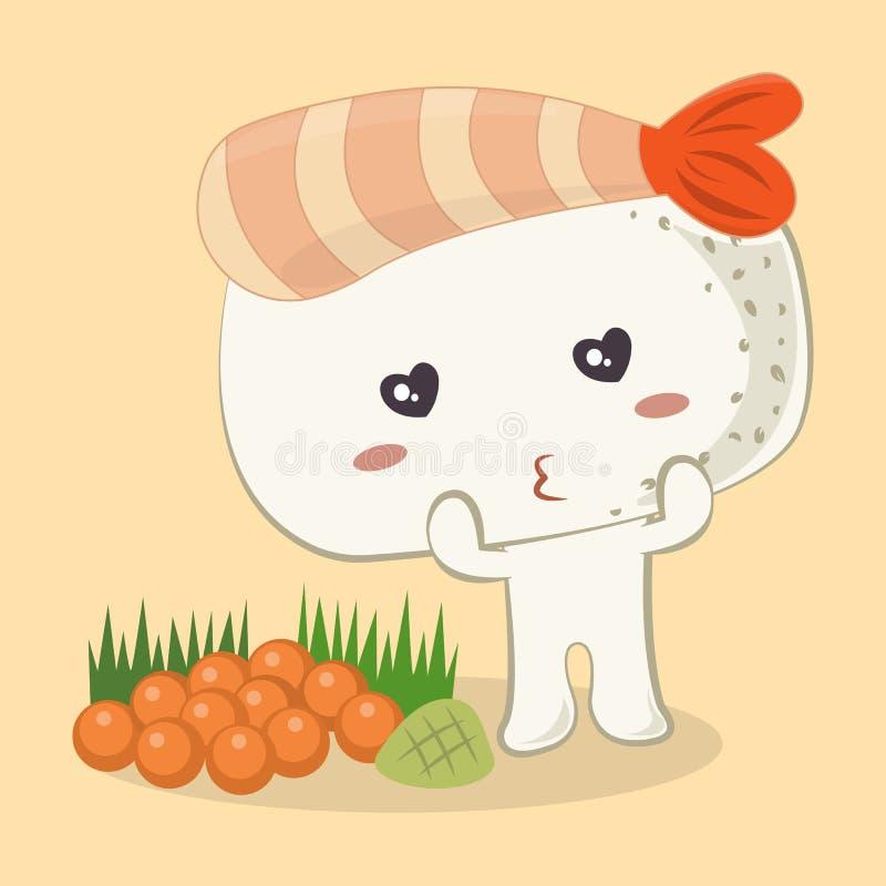 Fumetto sveglio dei sushi di Ebi Nigiri del gamberetto royalty illustrazione gratis