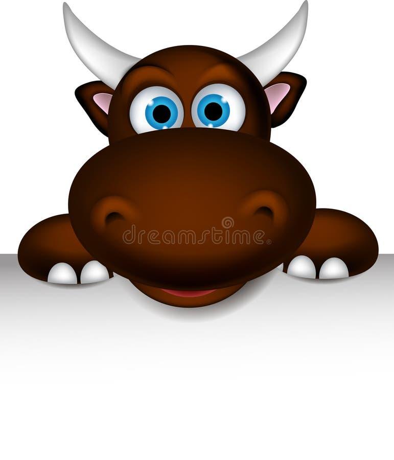 Fumetto sveglio del bufalo che posa con il segno in bianco illustrazione di stock