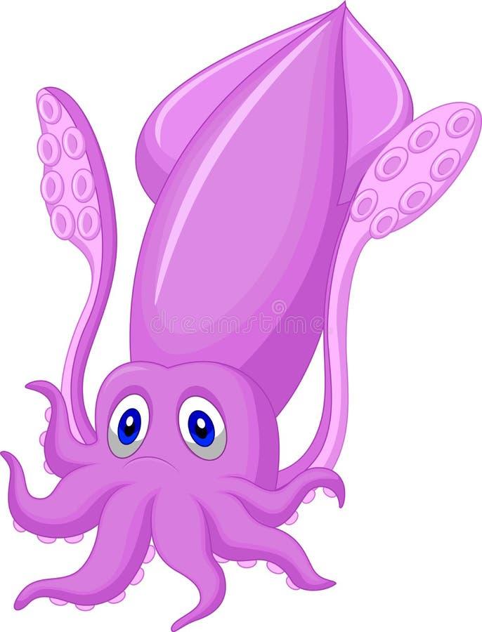 Fumetto sveglio del calamaro illustrazione di stock