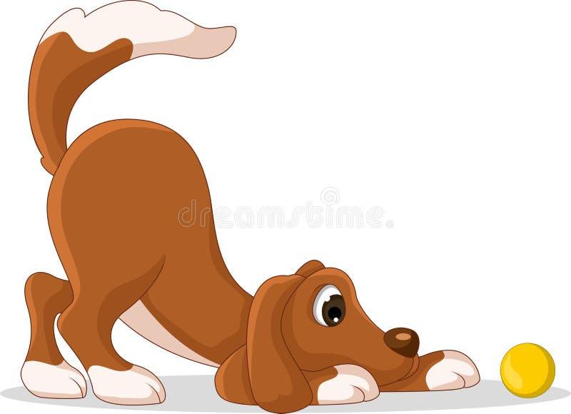 Fumetto sveglio del cane che gioca palla gialla illustrazione di stock