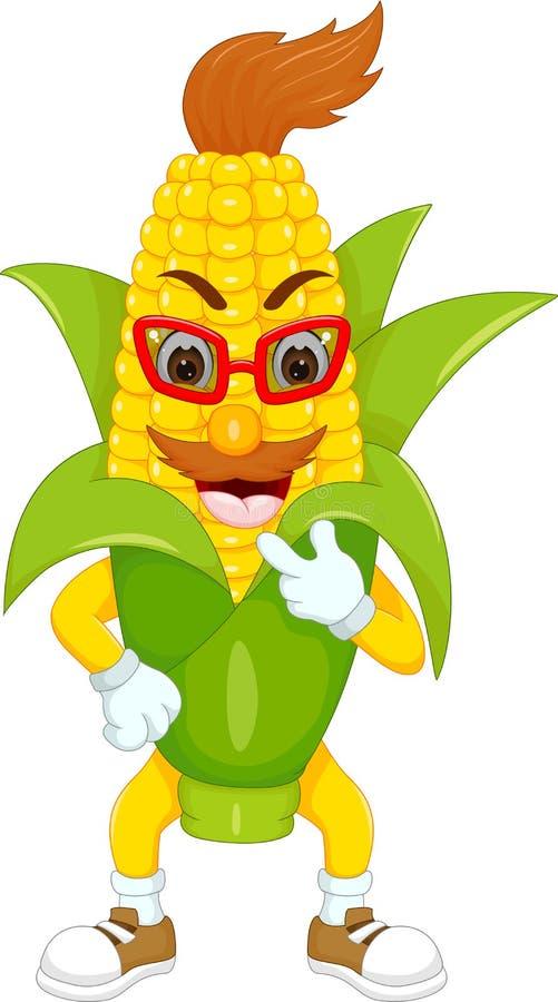 Fumetto sveglio del cereale che sta con la risata ed indicare del dito illustrazione vettoriale