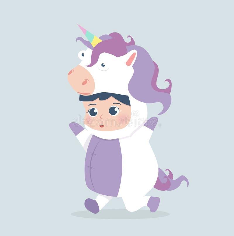 Fumetto sveglio del costume dell'unicorno della ragazza illustrazione di stock