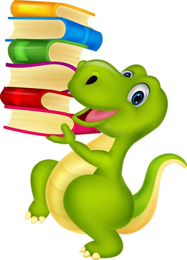 Fumetto sveglio del dinosauro con il libro illustrazione vettoriale