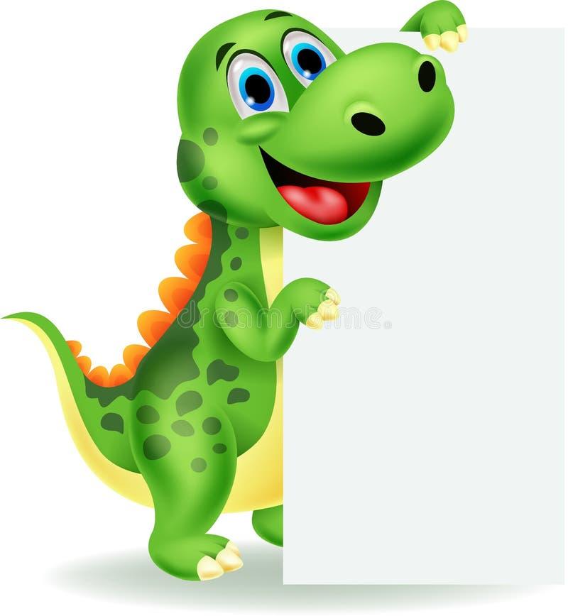 Fumetto sveglio del dinosauro con il segno in bianco illustrazione di stock