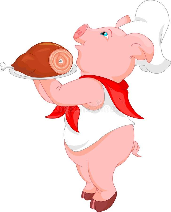 Fumetto sveglio del maiale del cuoco unico royalty illustrazione gratis