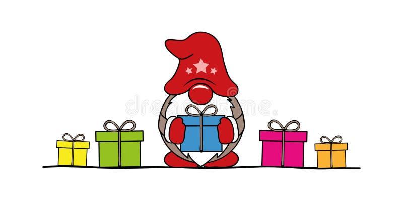 Fumetto sveglio del nano di natale con i regali variopinti illustrazione di stock