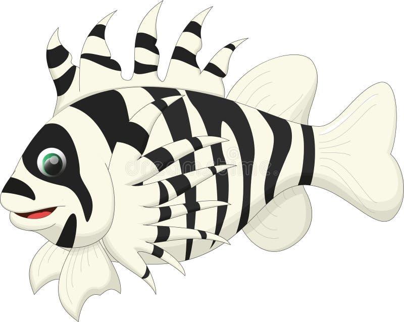 Fumetto sveglio del pesce del leone illustrazione di stock