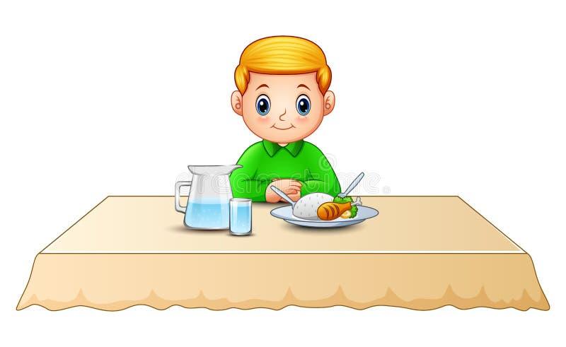 Fumetto sveglio del ragazzino che mangia sul tavolo da pranzo illustrazione vettoriale