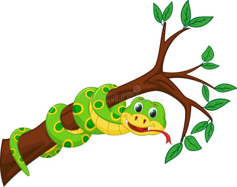 Fumetto sveglio del serpente sul ramo illustrazione vettoriale