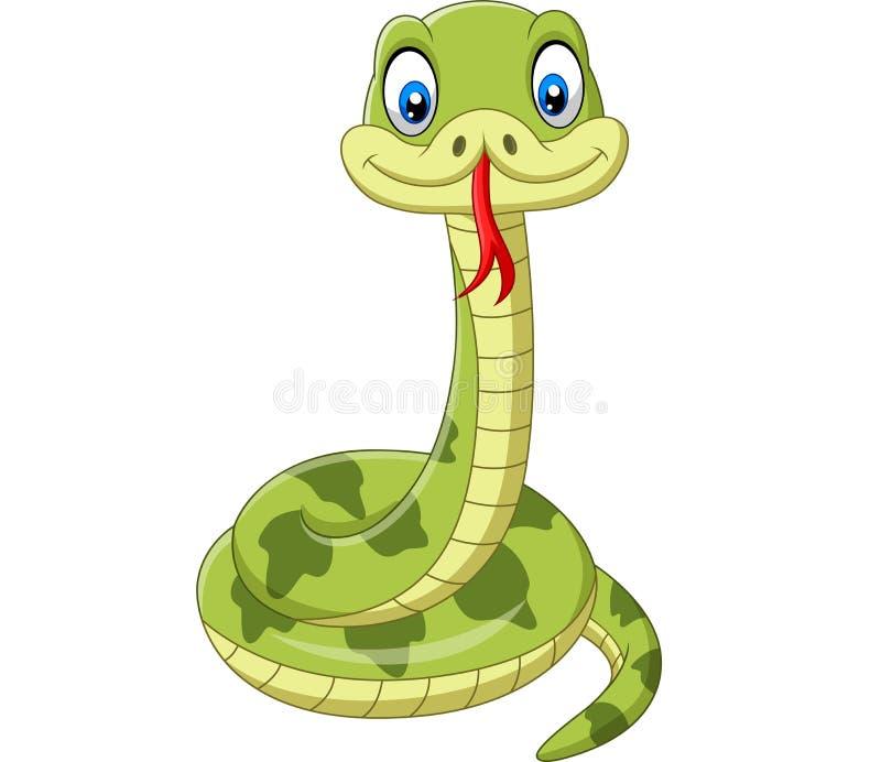 Fumetto sveglio del serpente verde su fondo bianco illustrazione di stock