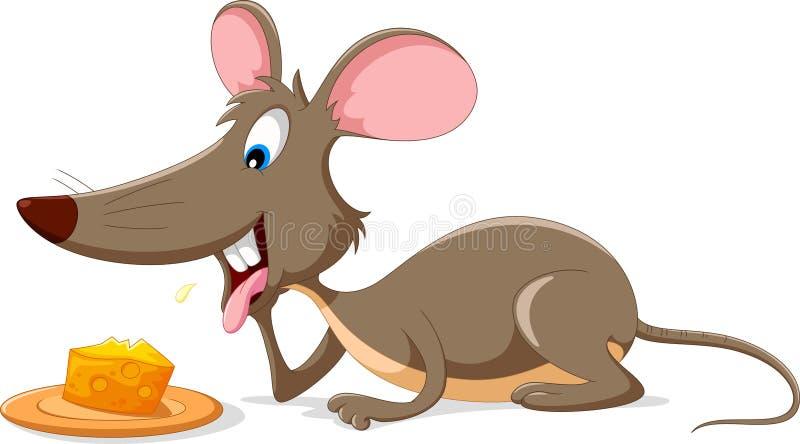 Fumetto sveglio del topo con una fetta di formaggio illustrazione di stock