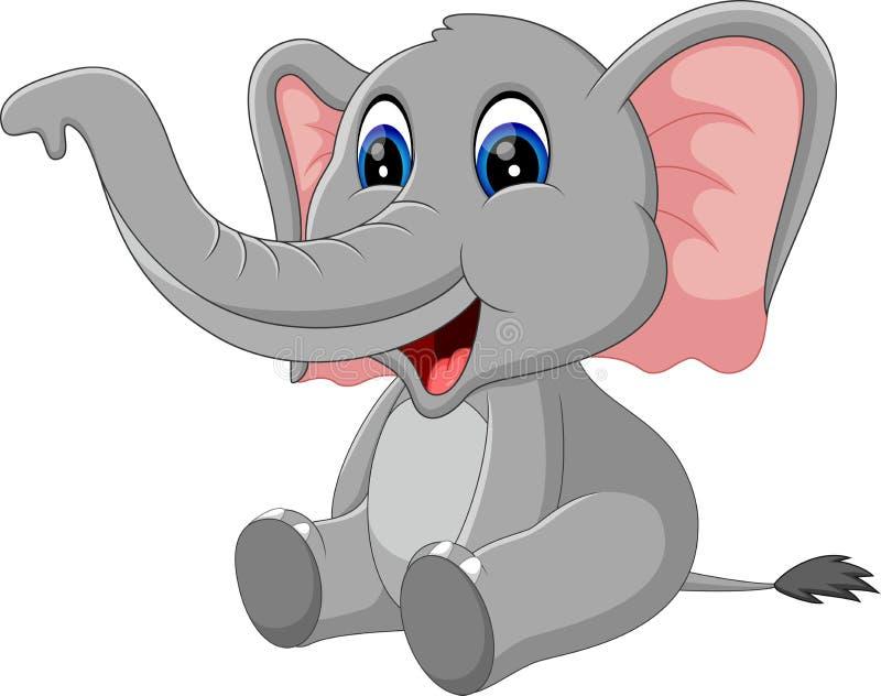 Fumetto sveglio dell'elefante illustrazione di stock