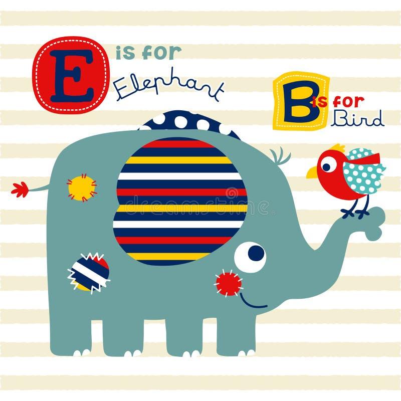 Fumetto sveglio dell'elefante con poco uccello illustrazione vettoriale