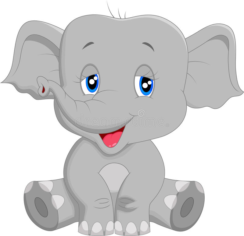Fumetto sveglio dell'elefante del bambino illustrazione vettoriale