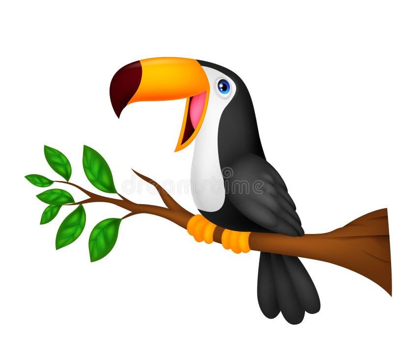 Fumetto sveglio dell'uccello del tucano illustrazione vettoriale