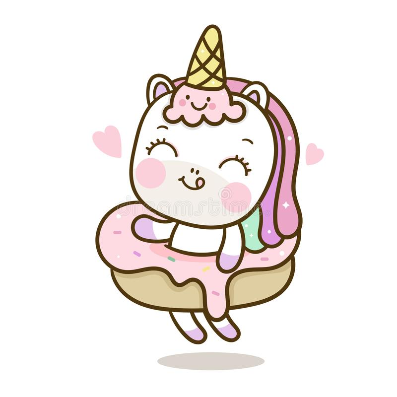 Fumetto sveglio dell'unicorno con il vettore del gelato e bigné per colore pastello di buon compleanno illustrazione vettoriale