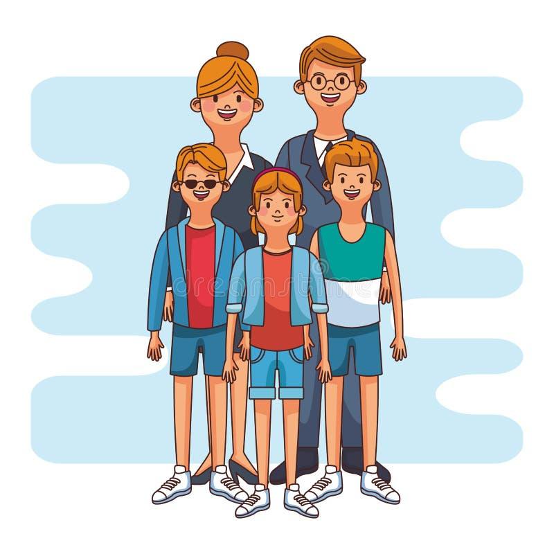 Fumetto sveglio della famiglia illustrazione vettoriale
