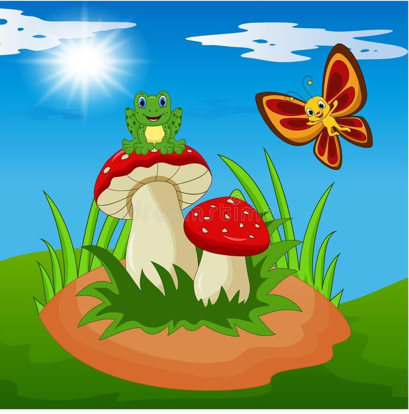 Fumetto sveglio della farfalla e della rana con il fungo royalty illustrazione gratis