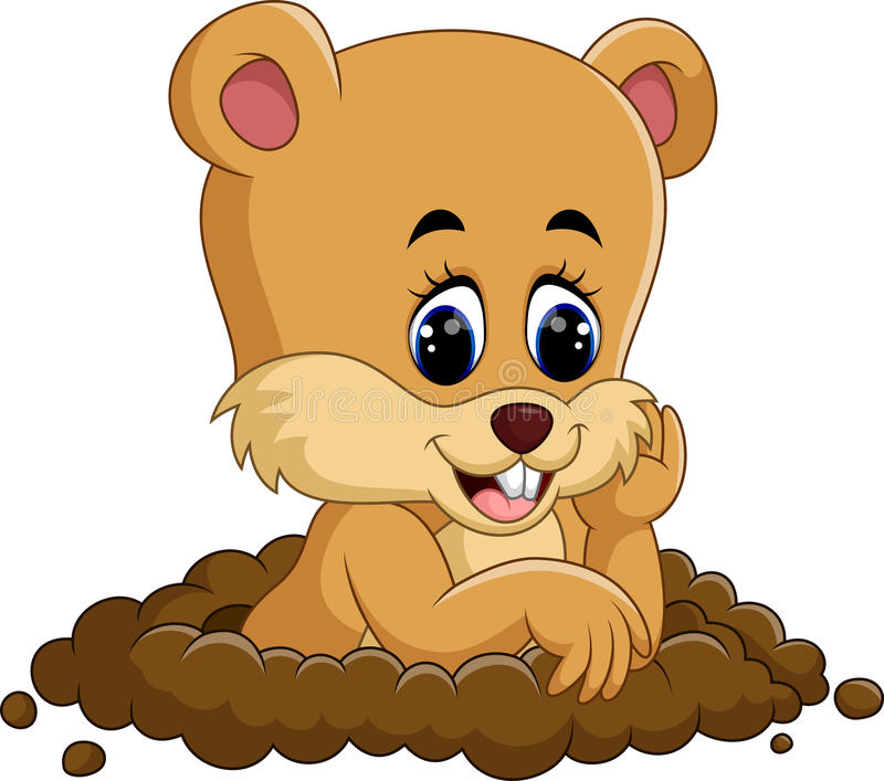 Fumetto sveglio della marmotta illustrazione vettoriale