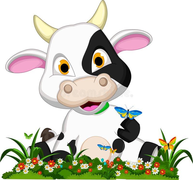 Fumetto sveglio della mucca sul giardino floreale illustrazione vettoriale