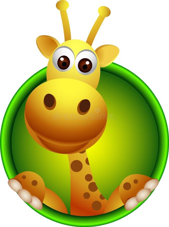 Fumetto sveglio della testa della giraffa illustrazione vettoriale