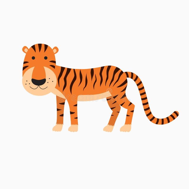 Fumetto sveglio della tigre illustrazione vettoriale