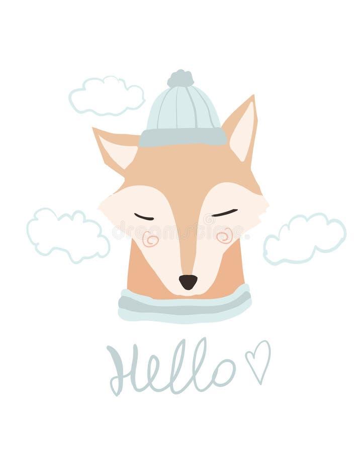 Fumetto sveglio della volpe Mare di amore, ciao molla Carta dell'animale del bambino Fox nella cartolina d'auguri della stampa di illustrazione di stock