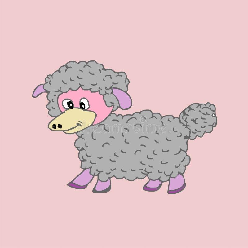 Fumetto sveglio delle pecore immagini stock