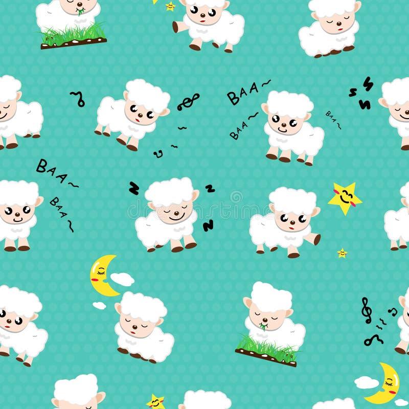 Fumetto sveglio delle pecore, concetto senza cuciture del modello della raccolta degli animali usando per il vettore astratto del illustrazione di stock