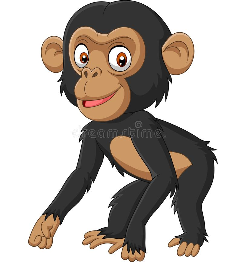 Fumetto sveglio dello scimpanzè del bambino su fondo bianco royalty illustrazione gratis