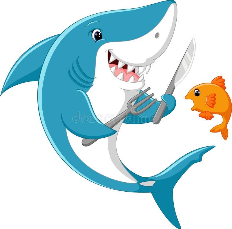 Fumetto sveglio dello squalo illustrazione di stock