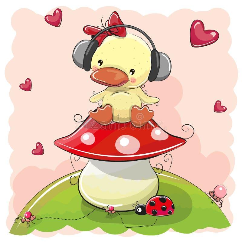 Fumetto sveglio Duck Girl con le cuffie royalty illustrazione gratis